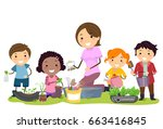 illustration of stickman kids... | Shutterstock .eps vector #663416845