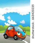 cartoon sports car smiling and... | Shutterstock . vector #663420235
