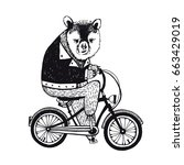 bear on the bicycle  vintage... | Shutterstock . vector #663429019