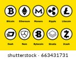 criptocurrency blockchain icons ... | Shutterstock .eps vector #663431731
