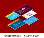 isometric user interface design ... | Shutterstock . vector #663441124