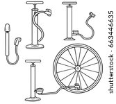vector set of bicycle pump | Shutterstock .eps vector #663446635