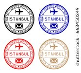 istanbul mail stamps. colored... | Shutterstock . vector #663450349