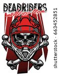 Skull Motocross Rider With...