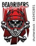 skull motocross rider with...   Shutterstock .eps vector #663452851