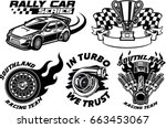 racing badge design set | Shutterstock .eps vector #663453067