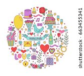 colorful doodle icon vector... | Shutterstock .eps vector #663455341