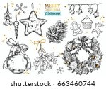 merry christmas collection... | Shutterstock .eps vector #663460744