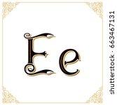 vector vintage font. letter and ... | Shutterstock .eps vector #663467131