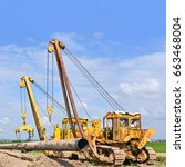 pipelayer on the repair of the... | Shutterstock . vector #663468004