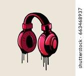 headphone pink graffiti style ... | Shutterstock .eps vector #663468937