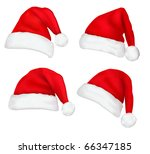 four red santa hats. vector. | Shutterstock .eps vector #66347185