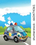 cartoon police car smiling and... | Shutterstock . vector #663474361
