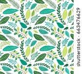 cute seamless botanical pattern ... | Shutterstock . vector #663476629