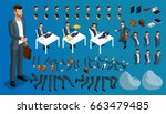 large isometric set of gestures ... | Shutterstock .eps vector #663479485