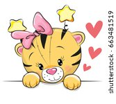 cute cartoon tiger with hearts... | Shutterstock .eps vector #663481519