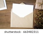 top view of envelope and blank... | Shutterstock . vector #663482311
