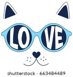 love cat illustration vector... | Shutterstock .eps vector #663484489