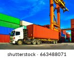 cargo container truck picking... | Shutterstock . vector #663488071