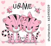 two cute tigers on a hearts... | Shutterstock .eps vector #663490039