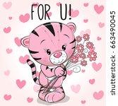 valentine card cute cartoon...   Shutterstock .eps vector #663490045