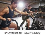 muscular people doing cardio on ... | Shutterstock . vector #663493309