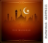 abstract elegant eid mubarak... | Shutterstock .eps vector #663496111