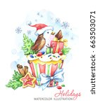 watercolor bird with cake and... | Shutterstock . vector #663503071