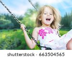 child on swing. | Shutterstock . vector #663504565
