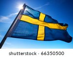 Sweden flag on dark blue sky...