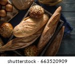 different kinds of bread on... | Shutterstock . vector #663520909