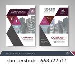 purple annual report brochure... | Shutterstock .eps vector #663522511
