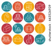 luggage icon set. backpack ... | Shutterstock . vector #663526939