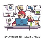 young man hacker with laptop | Shutterstock .eps vector #663527539
