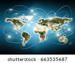 world map on a technological...   Shutterstock . vector #663535687
