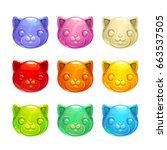 cute jelly cat faces. vector...
