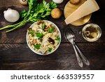 an overhead photo of a mushroom ... | Shutterstock . vector #663539557