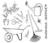 garden tools set. gardening...   Shutterstock .eps vector #663541879