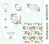 template cards set with... | Shutterstock . vector #663544129