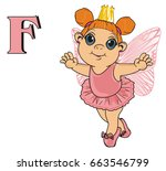 cute fairy in crown with letter ...   Shutterstock . vector #663546799