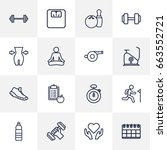 set of 16 bodybuilding outline... | Shutterstock .eps vector #663552721
