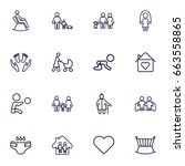 set of 16 relatives outline... | Shutterstock .eps vector #663558865