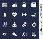 set of 16 fitness icons set...   Shutterstock .eps vector #663559009
