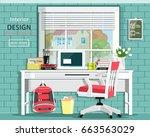 graphic room set with desk ... | Shutterstock .eps vector #663563029