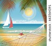 summer vacation on the beach  a ... | Shutterstock .eps vector #663564391