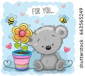 greeting card bear with flower...   Shutterstock . vector #663565249