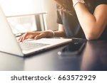 woman working on laptop...   Shutterstock . vector #663572929