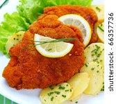 wiener schnitzel with potato...   Shutterstock . vector #66357736