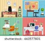 cool graphic furniture set ... | Shutterstock .eps vector #663577831