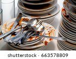 close up of dirty dishes.   Shutterstock . vector #663578809